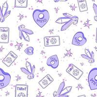 Pastel purple occult seamless pattern with ouija planchettes, tarot cards, gemstones and stars. Repeat background with wiccan and pagan magic objects. Spiritual and millennial texture about divination vector