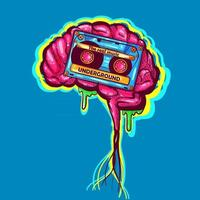 Wall hiphop art with a zombie brain and a cassette. Neon graffiti drawing and clothing texture for print. Urban and contemporary hip hop music illustration. Funky mind concept from the 90s. vector