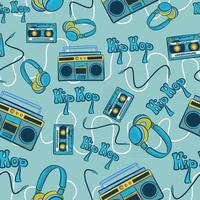 Blue hiphop seamless pattern with recorders, cassettes, headphones and cables. Repetitive background with hip hop underground culture elements. 1990 conceptual art repeat vector with dance and music