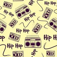 Vintage seamless pattern with old music hip hop elements. Repetitive background with boomboxes, cassettes and cables. Nostalgic retro art from the 90s and 80s with hiphop devices. vector