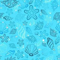 Baby blue all over print with sea and ocean creatures. Seamless pattern with seashells, star fish, snails and clam doodles. Oceanic repeat background with underwater marine life for scrapbooks vector