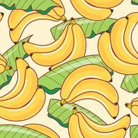 Seamless pattern banana and leaf on white background. Vector illustration.