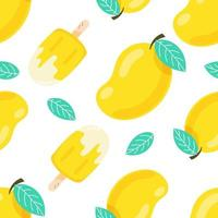 Seamless pattern mango fruits with ice-cream in summer isolate on white background. vector illustration.