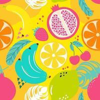 Hand drawn cute seamless pattern  fruits, Orange, Banana, Pomeganate, Cherry, Strawberry, Lemon and leaf on yellow background. Vector illustration.