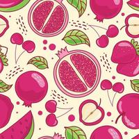 Seamless pattern cute fruits on yellow pastel background. Pomegranate, Strawberry, Cherry, Apple, Watermelon. Vector illustration.