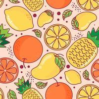 Seamless pattern cute fruits on orange background. Pineapple, Mango, Lemon, Orange. Vector illustration.