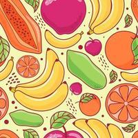 Seamless pattern cute fruits on yellow pastel background. Banana, Papaya, Apple, Orange. Vector illustration.