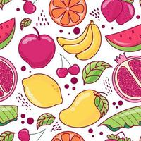 Hand drawn cute seamless pattern  fruits, Orange, Banana, Pomegranate, Cherry, Strawberry,  Watermelon, Apple, Mango, Lemon and leaf on white  background. Vector illustration.