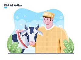 Happy Eid Al Adha illustration with Muslim person and sacrificial animals. sacrificial feastival eid al adha with islam people and cow animal. can be used for greeting card, banner, poster, web, postcard. vector