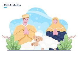 Muslim person couple greeting happy Eid Al Adha vector flat illustration. Eid Al Adha Islamic Sacrifice tradition.  can be used for greeting card, postcard, invitation, banner, web.