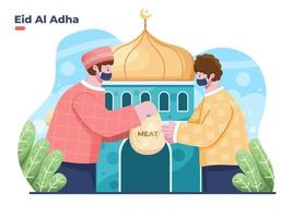 Eid Al Adha illustration with Muslim person giving alms or a plastic bag containing sacrificial meat to the poor or the underprivileged. Give charity to the other person to celebrate eid al adha. vector
