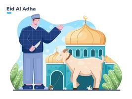 Eid Al adha illustration with muslim person ready to sacrifice the sacrificial animal at front of the mosque. Eid al adha sacrifice festival and Islamic religious tradition. vector