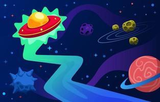 UFO Spaceship Exploring Universe vector