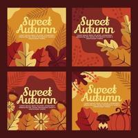 Sweet Autumn Aesthetic Cards vector