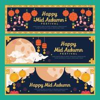 Mid Autumn Festival at Night Banners vector