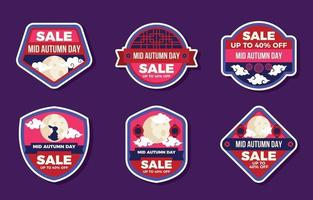 Mid Autumn Sale Badges vector
