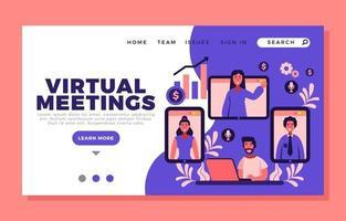Virtual Meeting Landing Page vector