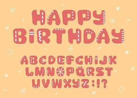 Vector outline, cartoon, hand drawn, bold, uneven, isolated font for cards, product packaging, book covers, flyers, headings, quotes, logotypes with doodle elements. Happy birthday text is example