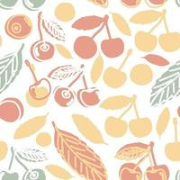 Cute summer childish seamless pattern of cherries. Vector outline doodle cartoon hand drawn design of red yellow green berries illustration on white background