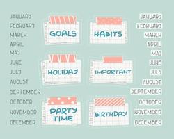 List of months from January to December for planning or calendar, Holiday, Birthday, Party time, Important, Goals, Habits  text on the squared paper, patterned washi tape with piece of newspaper vector