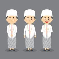 Indonesian Wedding Character with Various Expression vector