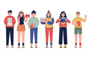 Group of Book Lover Characters Concept vector