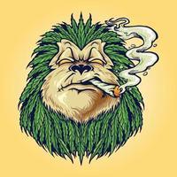 Monkey Weed  Smoke Leaf Marijuana Mascot vector