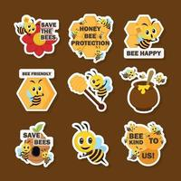 Cute Yellow Bee Stickers vector