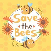 Save The Bees Campaign Concept vector
