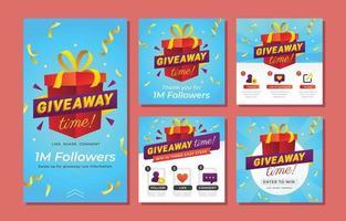 Giveaway Contest Social Media Template vector