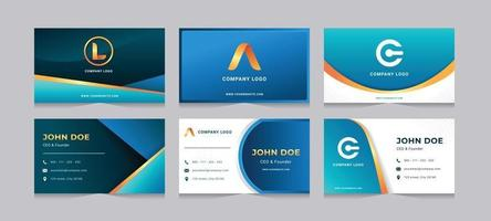 Blue and Gold Business Card Template vector
