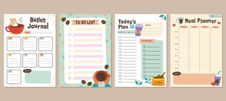 Coffee Theme Bullet Journal Template vector