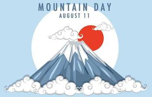 Mountain Day in Japan banner with Mount Fuji background vector