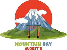 Mountain Day in Japan banner with Mount Fuji and Red Sun vector