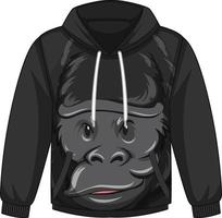 Front of hoodie sweater with gorilla pattern vector