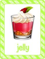 Vocabulary flashcard with word Jelly vector