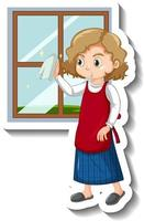 Maid cleaning the window cartoon sticker vector