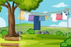 Clothes drying and hanging outdoor background vector