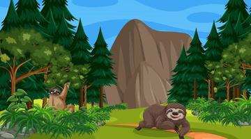 Two sloths in forest at daytime scene with many trees vector