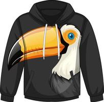 Front of hoodie sweater with toucan pattern vector