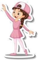 Cartoon character sticker with a girl dance ballet vector