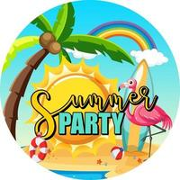Summer Party text banner with beach background vector