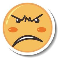 A sticker template with angry face emoji isolated vector