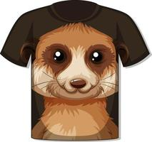 Front of tshirt with meerkat face template vector