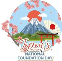 Japan National Foundation Day banner with Mount Fuji vector