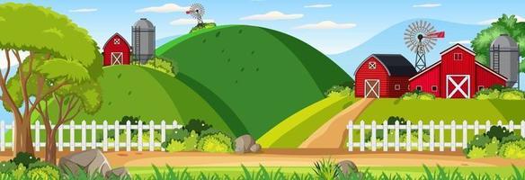 Farm horizontal landscape at daytime scene vector