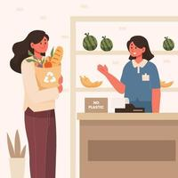 Woman Use Paper Bag While Shopping vector