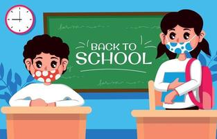 Back to School Concept with Safety Protocol vector