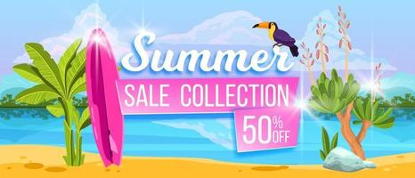 Summer sale banner, hot discount offer background, tropical island beach, toucan, surfboard vector