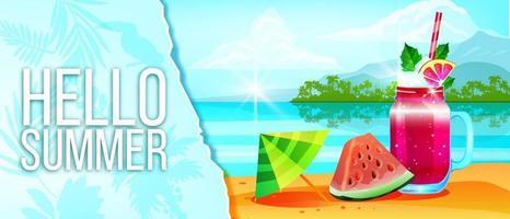 Summer vacation banner, season sale background, cold beverage, watermelon, tropical island beach vector